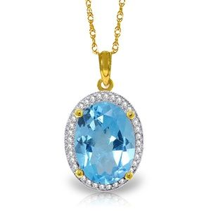 GOLD NECKLACE WITH NATURAL DIAMONDS & BLUE TOPAZ
